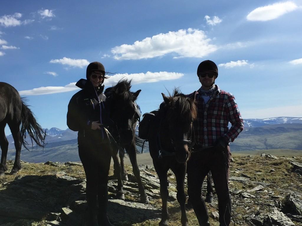 Jeg og Martin med Kvistli-hestene våre
